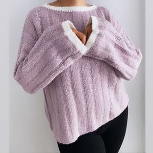 J.O.A. Lilac Oversized Chunky Knit Sweater